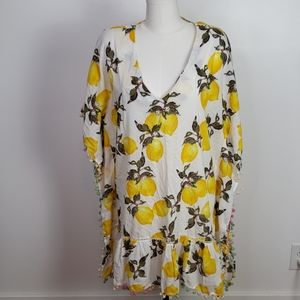 Violet Sky Lemon Beach Tunic Cover Up, Sz. L